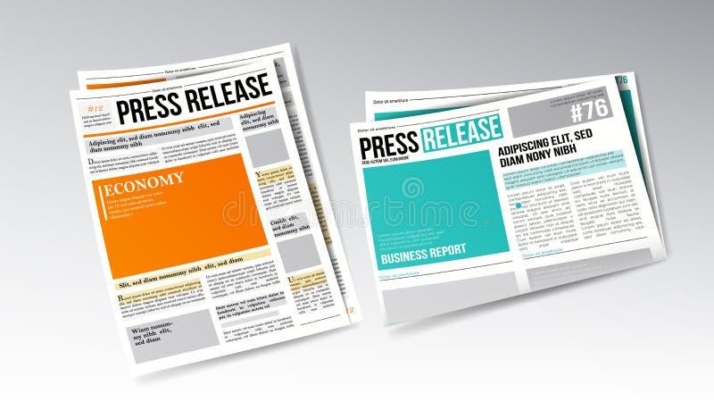 报纸与标题集合传染媒介的新闻发布 库存例证