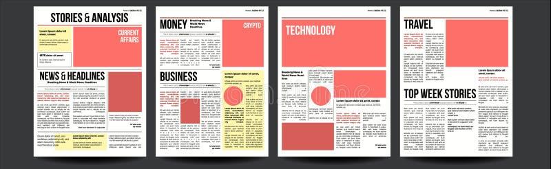 报纸传染媒介 纸小报设计 每日标题国际商业经济新闻和技术 例证 皇族释放例证