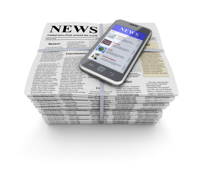 报纸和移动电话 库存例证