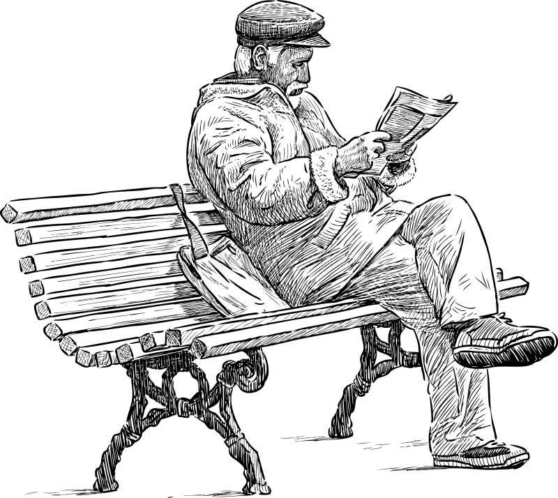 读报纸的前辈 库存例证
