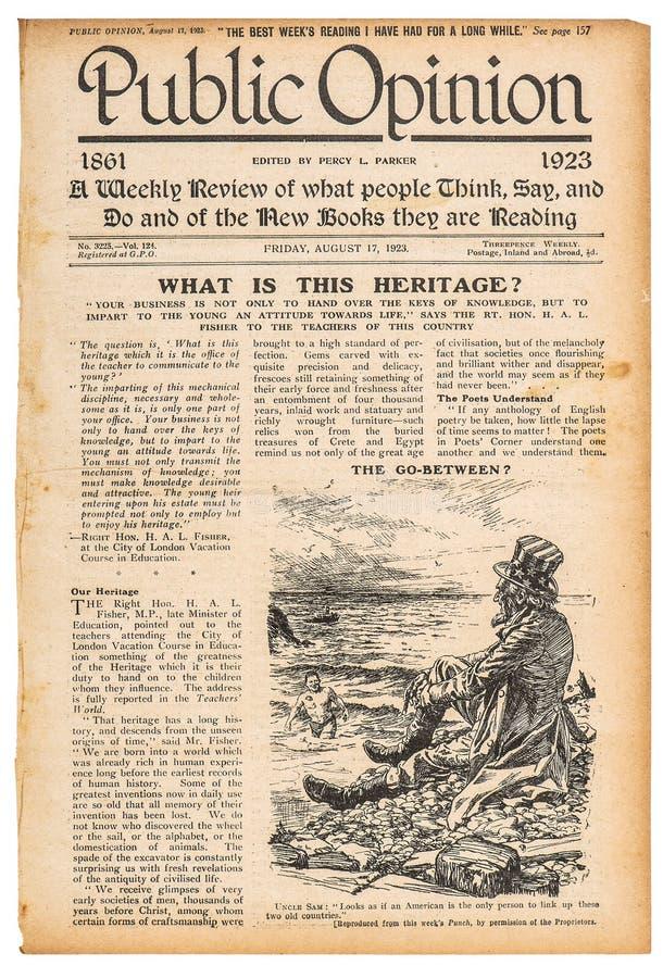 报纸pageenglish文本广告使用的纸 免版税库存照片