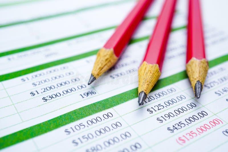 报表与铅笔的桌纸 提供经费给发展,银行帐户,统计投资分析研究数据 图库摄影
