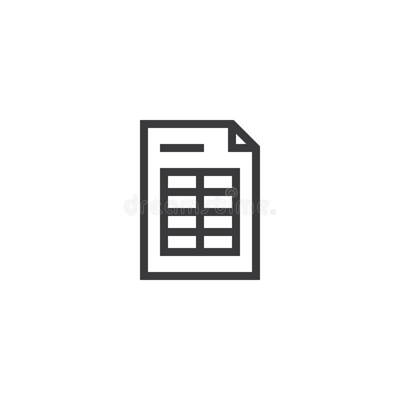 报表文件纸概述象 在稀薄的线型的被隔绝的便条纸象图表和网络设计的 简单的平的symbo 皇族释放例证