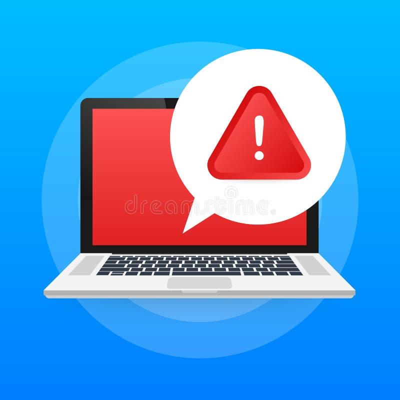 报警信息膝上型计算机通知 危险错误戒备、膝上型计算机病毒问题或者不安全的传讯垃圾短信问题通知 皇族释放例证