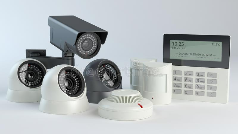 报警系统-照相机和传感器,3d例证 免版税库存图片