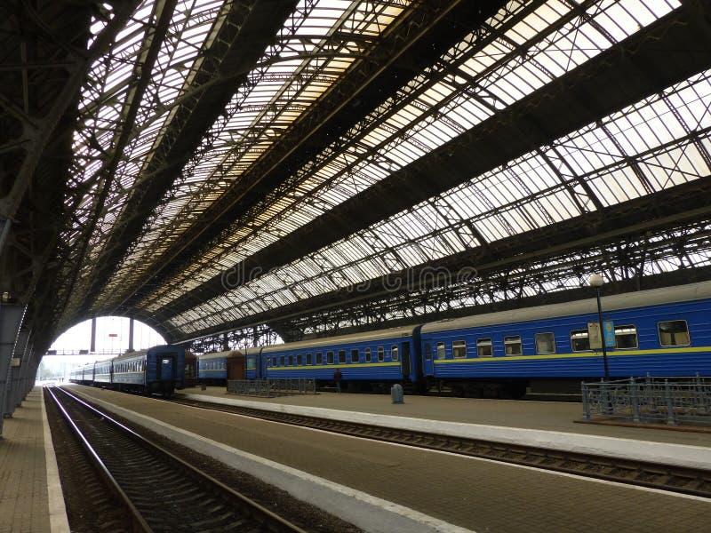 报道的佩隆火车站在利沃夫州 图库摄影