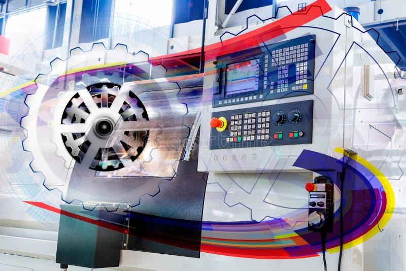 报道的板料金属工艺现代cnc抽象图形接口的控制板以上 库存例证