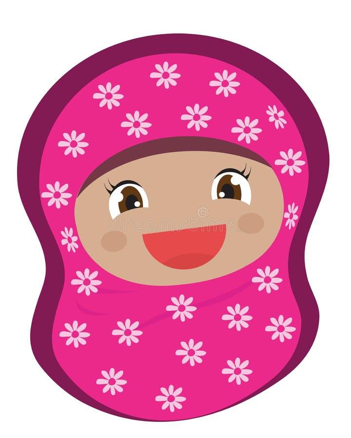 披着美丽披肩的穆斯林妇女 纵向 皇族释放例证