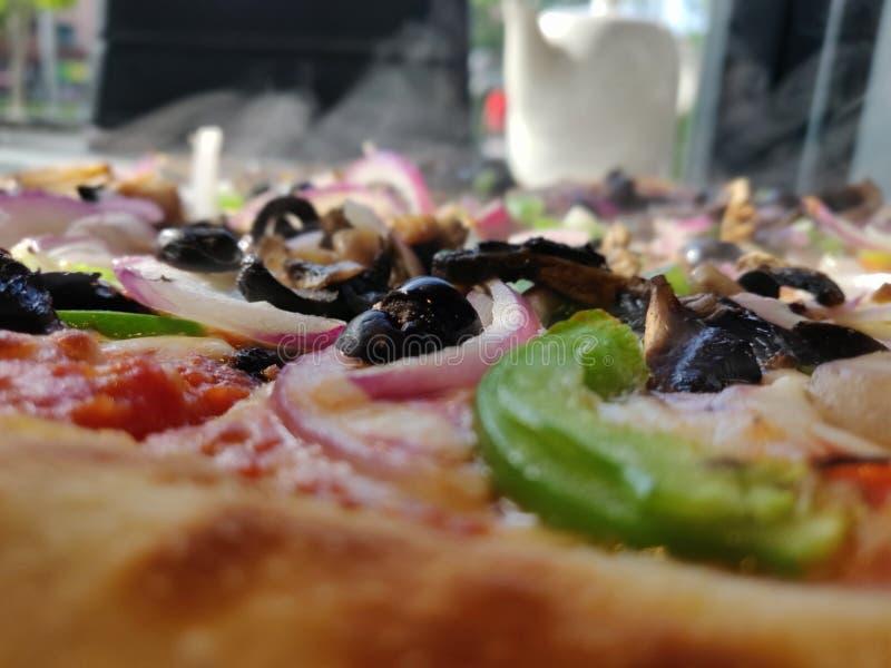 披萨配料特写 库存照片