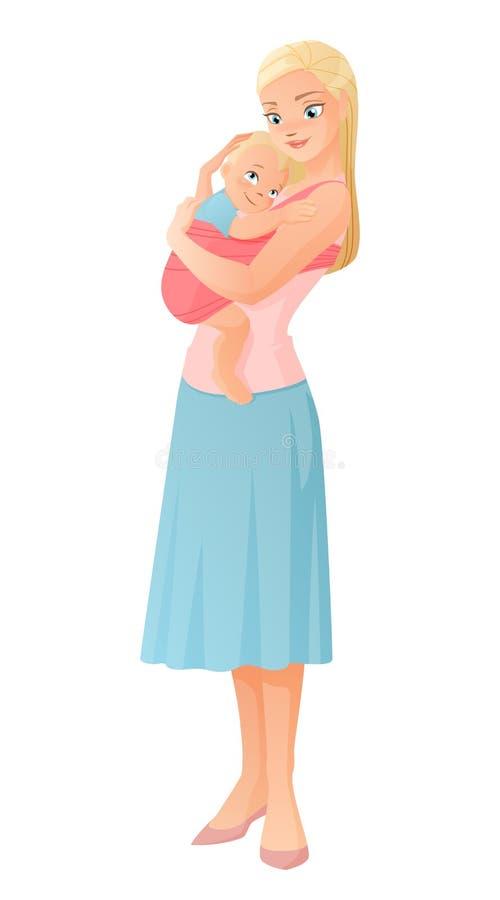 抱她的小孩子的母亲 也corel凹道例证向量 向量例证