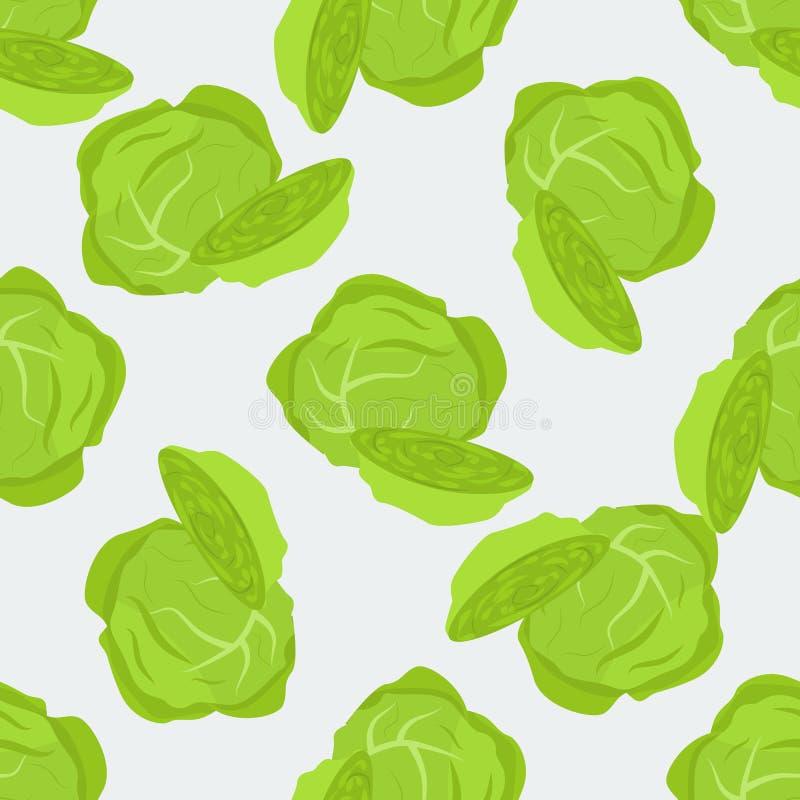 抱子甘蓝圆白菜传染媒介无缝的样式 有机食品您的包裹的构思设计 库存例证