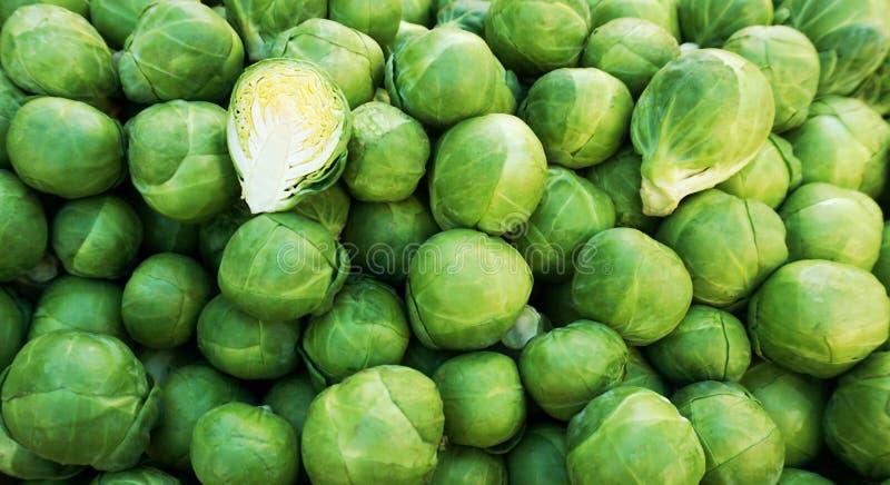 抱子甘蓝,包括各种各样的圆白菜的小紧凑芽的有机蔬菜 免版税库存照片