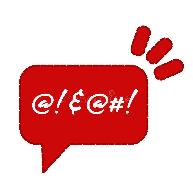 抱怨或诅咒稀薄的象 平的在白色隔绝的动画片时髦现代红色略写法图表chatroom元素设计 皇族释放例证
