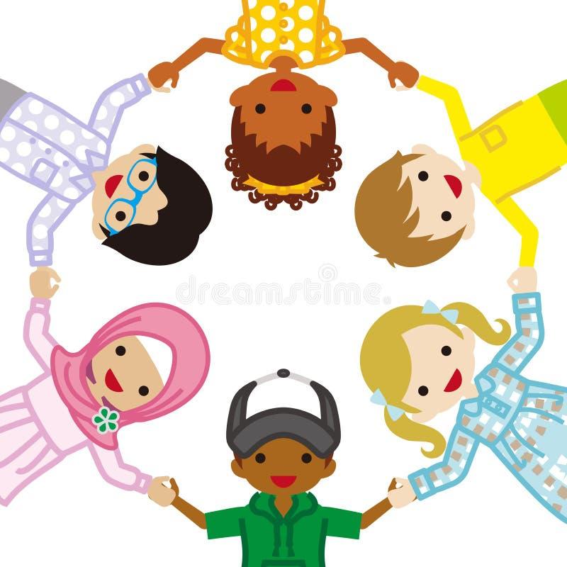 抱手多种族孩子,圈子 库存例证