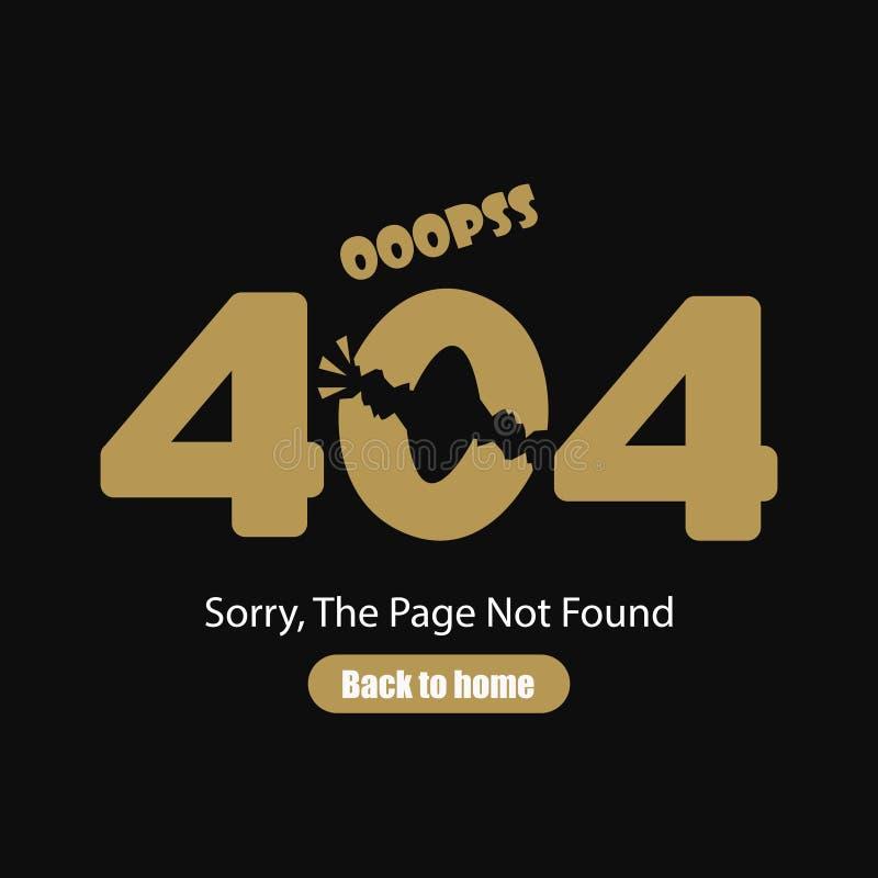 抱歉,没找到的页,错误404,在黑背景的题字 也corel凹道例证向量 库存例证