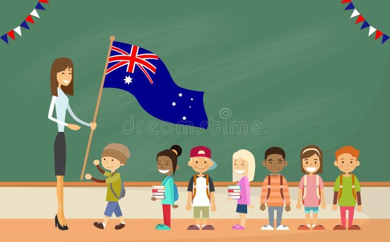 抱澳大利亚旗子孩子的老师学校. 字符, 的biscayne.图片