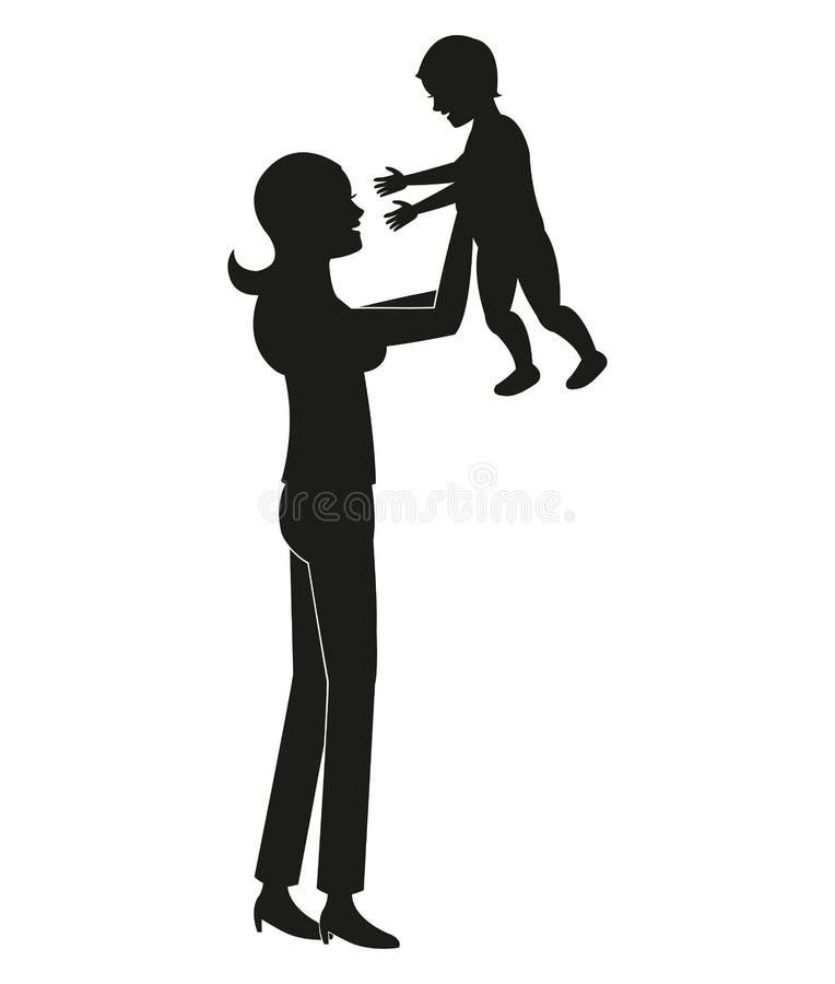 抱着婴孩的剪影母亲 向量例证