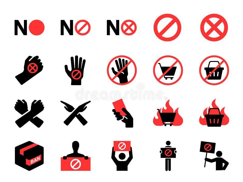 抵制象集合 作为抗议、禁令,不,废弃物,抗议者的包括的象,禁止和更 库存例证