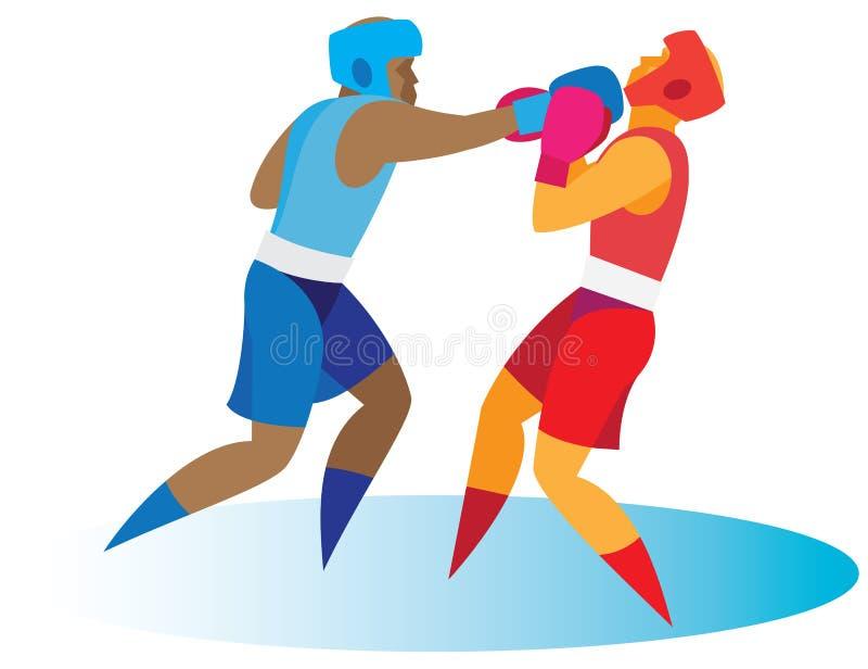 抵制 拳击手送他的击倒的对手 皇族释放例证