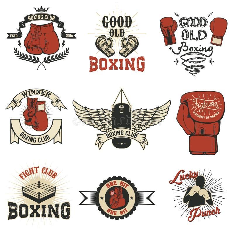 抵制 拳击在难看的东西背景的俱乐部标签 T恤杉印刷品t 向量例证