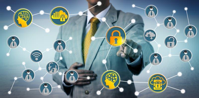抵抗与Cybersecurity的人网络威胁 库存照片