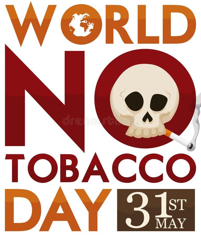抽在标志的头骨一根香烟促进烟草天,传染媒介例证 皇族释放例证