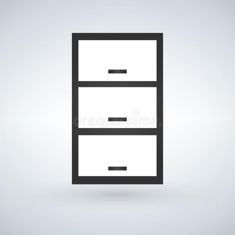抽屉、nightstand或者床头柜有把柄正面图 在现代背景隔绝的传染媒介 向量例证