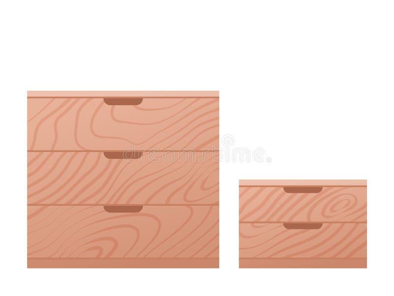 抽屉胸口和梳妆台在平的设计 也corel凹道例证向量 向量例证