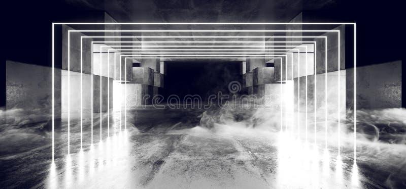 抽未来霓虹灯图表发光的白色真正科学幻想小说未来派隧道演播室阶段建筑车库指挥台太空飞船 向量例证