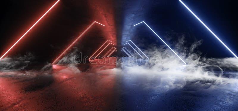 抽未来霓虹灯图表发光的紫色蓝色充满活力的真正科学幻想小说未来派隧道演播室阶段建筑车库 皇族释放例证