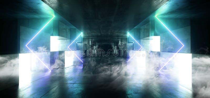 抽未来霓虹灯图表发光的蓝色充满活力的真正科学幻想小说未来派隧道演播室阶段建筑车库指挥台 皇族释放例证