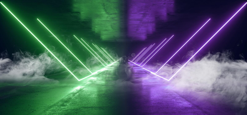 抽未来霓虹灯图表发光的青绿的充满活力的真正科学幻想小说未来派隧道演播室阶段建筑车库 皇族释放例证