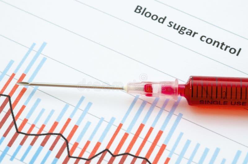 抽样筛选的糖尿病测试血液在血液注射器 库存照片