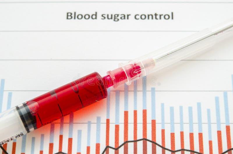 抽样筛选的糖尿病测试血液在血液管 免版税库存图片