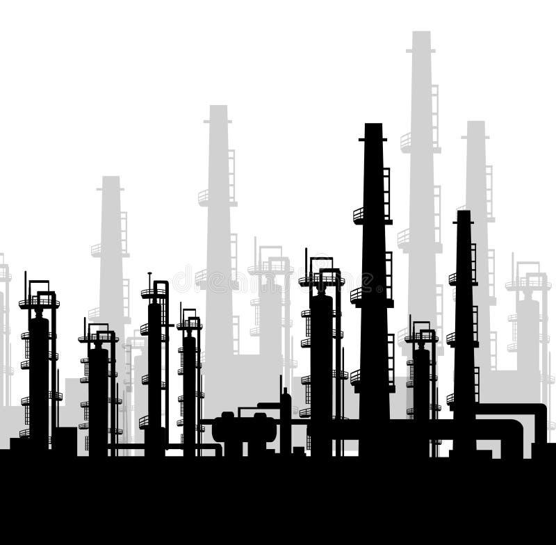 抽油装置在早晨-传染媒介 库存例证