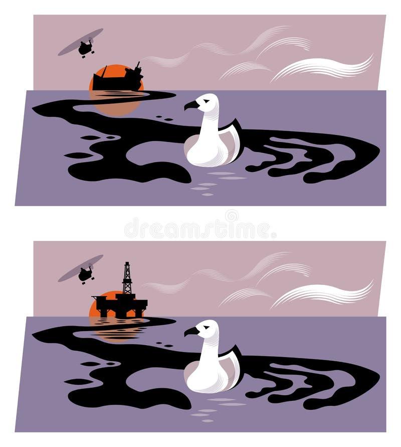 抽油装置或下沉的油槽的例证释放油的入海,形成劫掠海鸟的手形状 库存例证