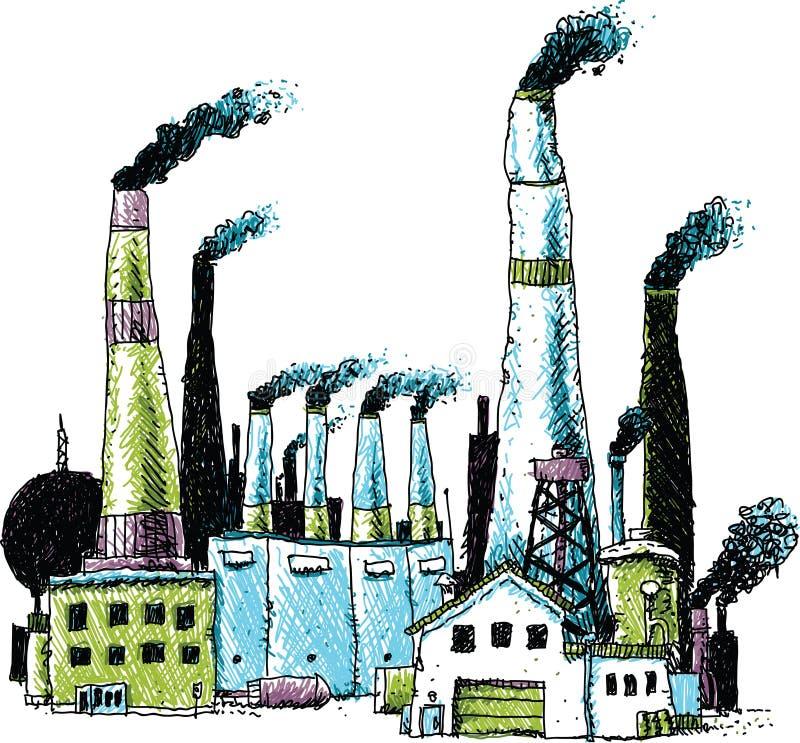 抽烟的产业大厦 向量例证