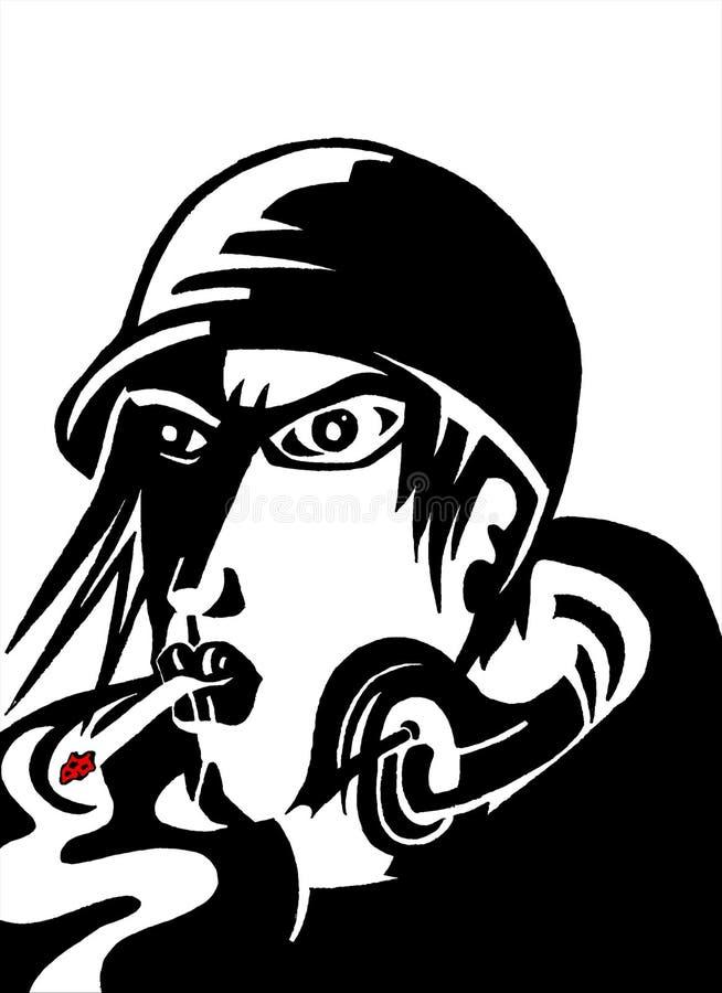 抽烟的人漫画艺术 图库摄影