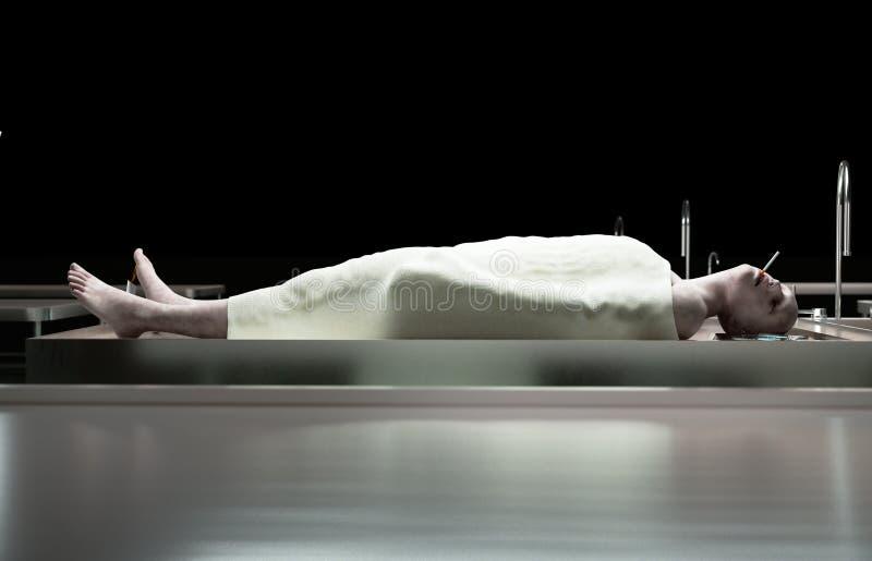 抽烟的杀害 死的男性身体在钢桌上的太平间 尸体 验尸概念 3d翻译 向量例证
