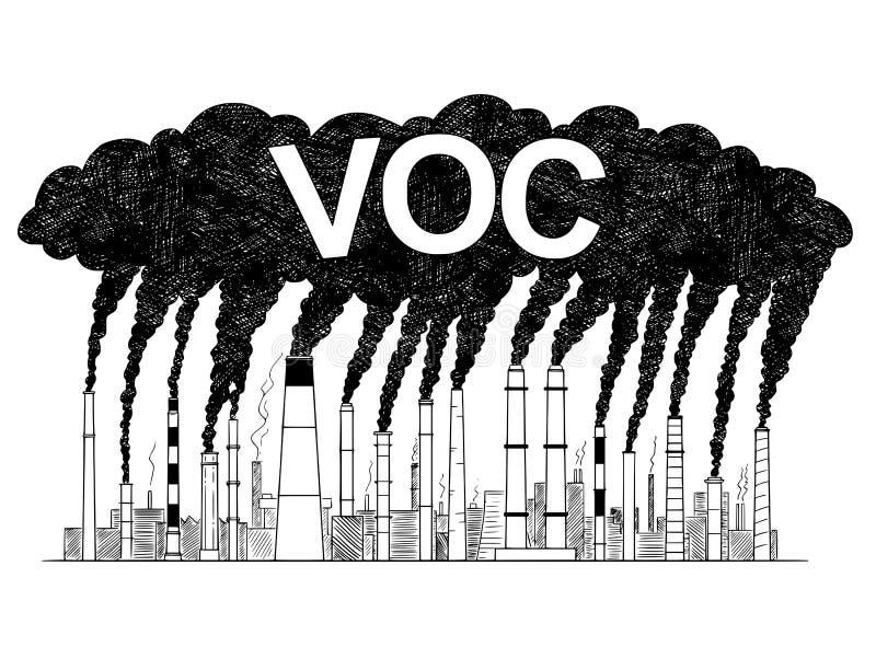 抽烟的烟窗的传染媒介艺术性的画的例证,产业生产的挥发性有机化合物的概念 向量例证