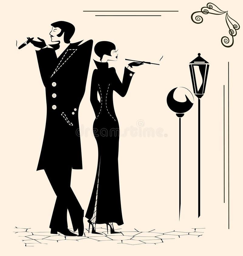抽烟的男人和妇女 皇族释放例证