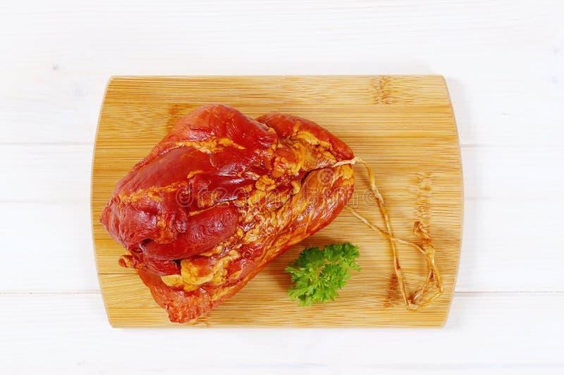 抽烟的肉猪肉 免版税库存图片