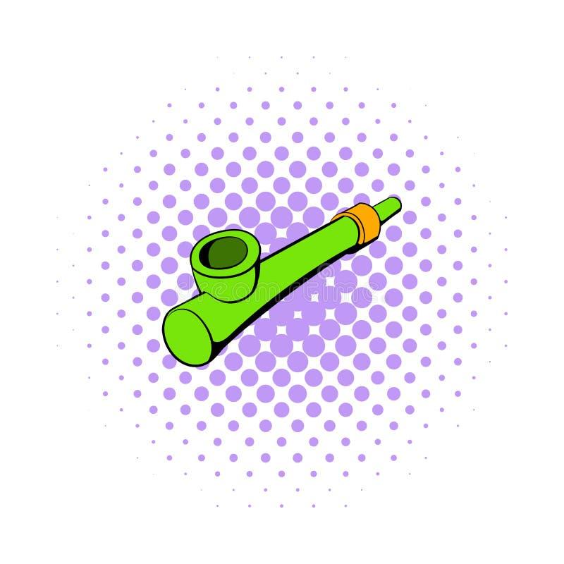 抽烟的象的,漫画样式木管子 库存例证