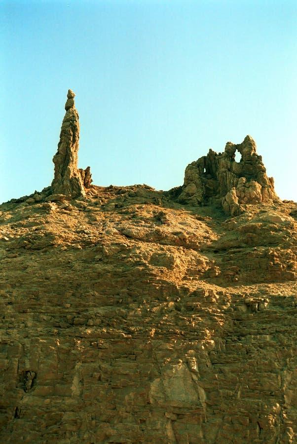 抽签在石头结冰的` s妻子,死海,约旦 免版税库存图片