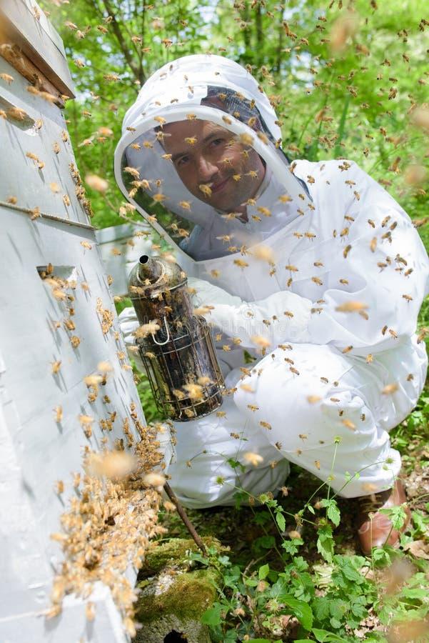 抽蜂房的蜂农 免版税库存图片