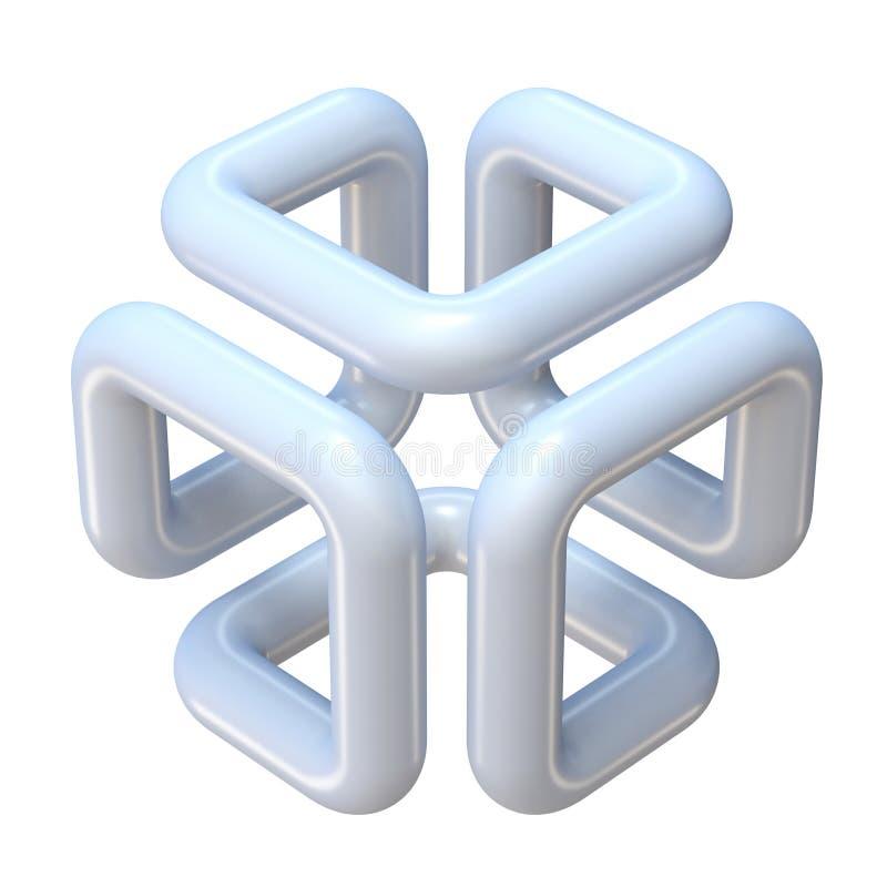 抽象一条线立方体形状3D 向量例证
