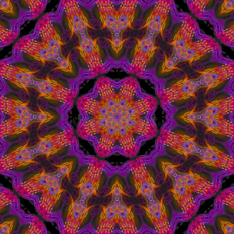 抽象万花筒样式数字能量概念装饰品形状音乐会复杂马赛克 向量例证