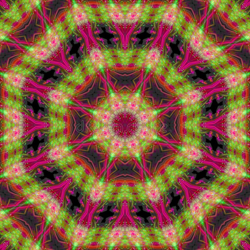 抽象万花筒样式数字装饰品能量概念装饰品形状音乐会复杂模板镜子马赛克 向量例证