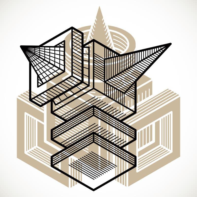 抽象三维形状,传染媒介设计立方体元素 向量例证
