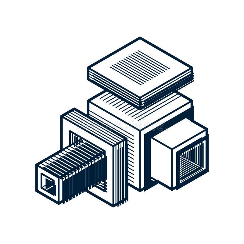 抽象三维形状,传染媒介设计立方体元素 库存例证